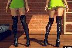 Cuisse de talons hauts et robes courtes dans les jeux de sexe en direct