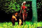 Femelle chaude jeune elfe en bikini rouge et dur guerrier
